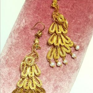 "Juicy Couture ""Gold Peacock"" Chandelier Earrings"